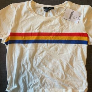 Forever 21 White Striped Crop Shirt
